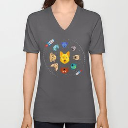 The Solar System - Spaceship Satellite Dog Unisex V-Neck