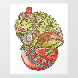 toad on a ball Art Print