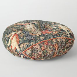 Franco Flemish Allegorical 17th Century Tapestry Print Floor Pillow