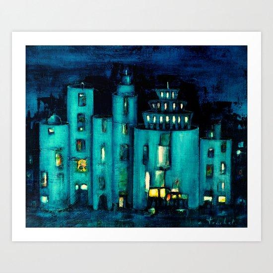 blue castle Art Print