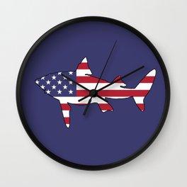 "Shark ""American Flag"" Wall Clock"