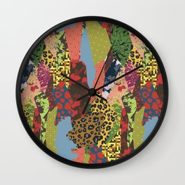 Patchwork of patterned textures abstract style Wall Clock