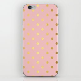 Gold polka dots on rose gold background - Luxury pink pattern iPhone Skin