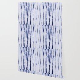 Indigo Ink Washed Lines Wallpaper