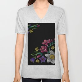 Embroidered Flowers on Black Corner 02 Unisex V-Neck