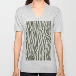 Simply Bonsai Lines in Green Tea and Lunar Gray Unisex V-Neck