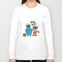 elmo Long Sleeve T-shirts featuring Elmo & Cookie Fan Art by gabriela