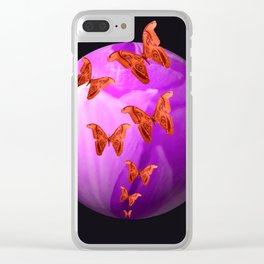 Violet Flower Bud With Apollo Butterflies Illustration On A Black Background #decor #society6 Clear iPhone Case