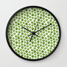 Dancing Green Limes on White Wall Clock