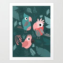 TROPICAL PARROTS Art Print