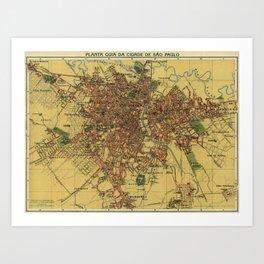 Vintage Map of Sao Palo Brazil (1913) Art Print