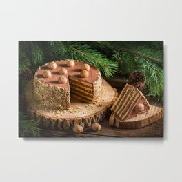 Image Christmas Cakes pieces Food Nuts New year To Metal Print