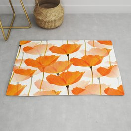 Orange Poppies On A White Background #decor #society6 #buyart Rug