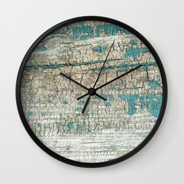 Rustic Wood Turquoise Weathered Paint Wood Grain Wall Clock