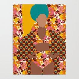 Tulip Kimono and Retro Floral Wallflower Poster
