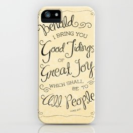 Good Tidings of Great Joy Parchment Typography iPhone Case