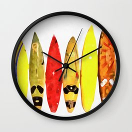 Surf Boards Painting Wall Clock