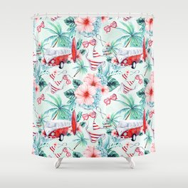 Retro 60s Bus, Surfboard, Bikini, Palm Trees, Beach Scene Shower Curtain