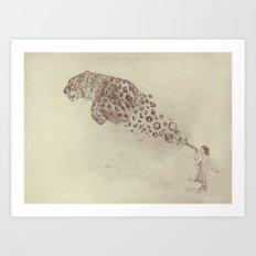 Bubbles the Snow Leopard Art Print