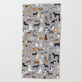 Mixed Dog lots of dogs dog lovers rescue dog art print pattern grey poodle shepherd akita corgi Beach Towel