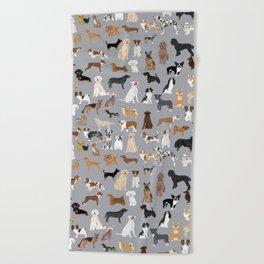 Mixed Dog lots of dogs dog lovers rescue dog art print pattern grey poodle shepherd akita corgi Beach Towel