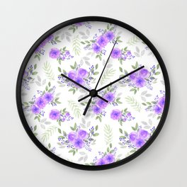 Hand painted violet lilac green watercolor peonies floral Wall Clock