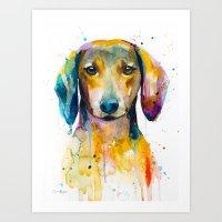 dachshund Art Prints featuring Dachshund  by Slaveika Aladjova