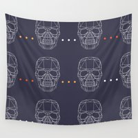 skulls Wall Tapestries featuring Skulls by Hipster