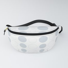 Up and down polka dot pattern in white and a pale icy gray Fanny Pack