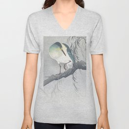 Blue Heron Sitting On A Willow Tree - Vintage Japanese Woodblock Print Art By Ohara Koson Unisex V-Neck