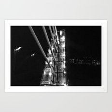 Detroit Pedestrian Bridge BW Art Print