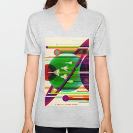 NASA Space Saturn Shuttle Retro Poster Futuristic Explorer Unisex V-Neck