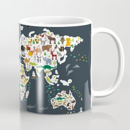 Cartoon animal world map for children, kids, Animals from all over the world, back to school, gray Coffee Mug