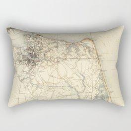 Vintage Map of Norfolk and Virginia Beach (1891) Rectangular Pillow