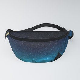 Black Trees Turquoise Milky Way Stars Fanny Pack