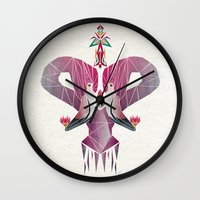 flamingo Wall Clocks featuring flamingo by Manoou