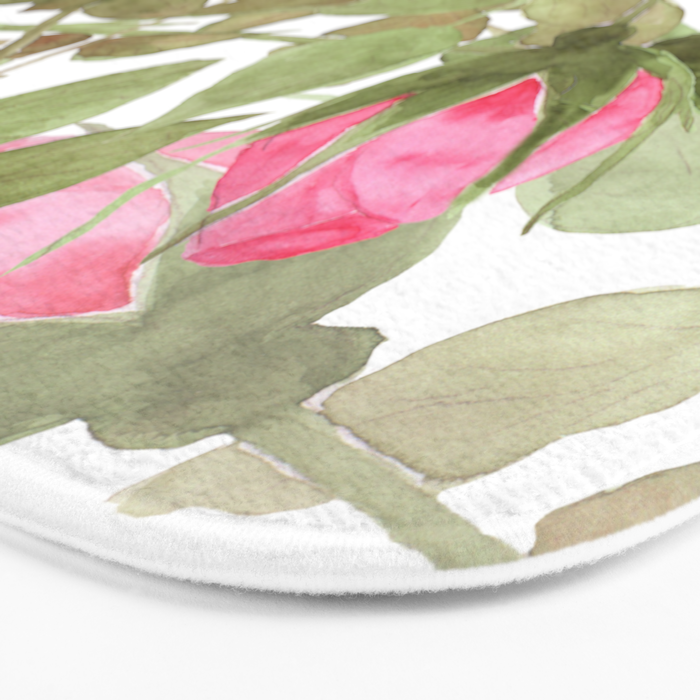 The buds of tender roses on a white background . Retro . Bath Mat