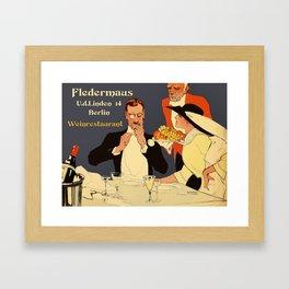 Berlin retro 1920 Plakatstil Fledermaus wine restaurant advertisement Framed Art Print