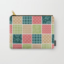 Zigzag, Polka Dots, Gingham - Green Red Blue Carry-All Pouch