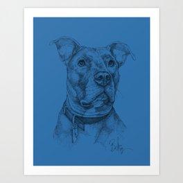 """Hank"" the Rescue Blue Nose Pitbull Staffordshire Terrier Art Print"