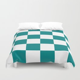 Large Checkered - White and Dark Cyan Duvet Cover