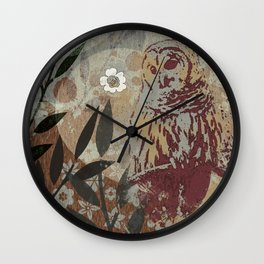 Graphic Barred Owl Nature Collage Art Wall Clock