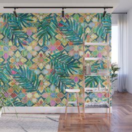 Gilded Moroccan Mosaic Tiles with Palm Leaves Wall Mural