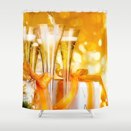 Happy New Year Christmas decoration champagne New Year Party ribbons glare Christmas Shower Curtain