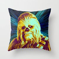 chewbacca Throw Pillows featuring Chewbacca by victorygarlic - Niki