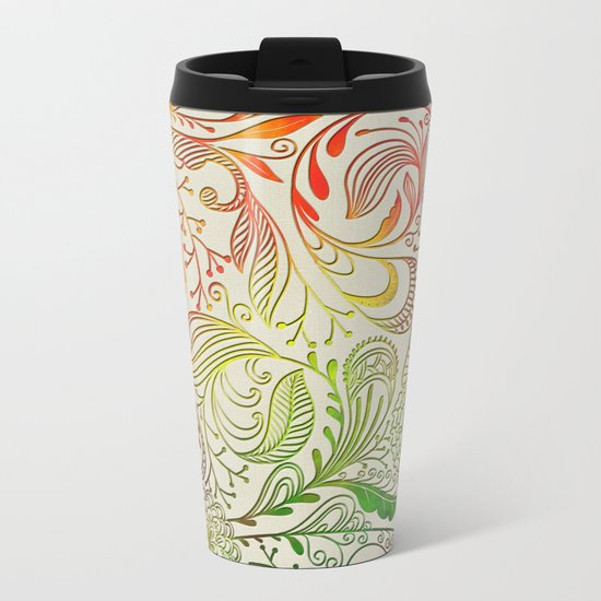 Festive Pattern Metal Travel Mug