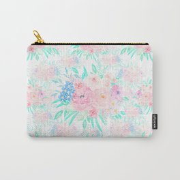 Elegant Blush Pink Floral Painting Carry-All Pouch