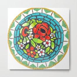 Floral Mosaic Brooch Metal Print