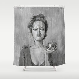 Girl With Apple Shower Curtain