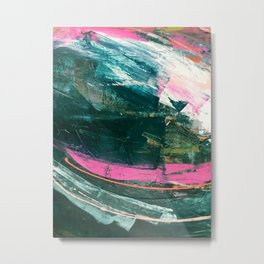 Meditate [3]: a vibrant, colorful abstract piece in bright green, teal, pink, orange, and white Metal Print